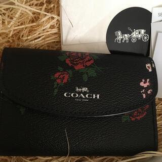 COACH - 新品 コーチ 花柄キーケース 黒色