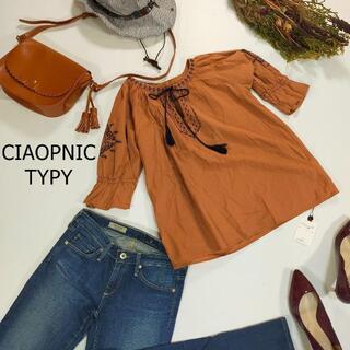 チャオパニックティピー(CIAOPANIC TYPY)の未使用チャオパニックティピー 刺繍入り カットソー ブラウン コットン サイズO(Tシャツ(半袖/袖なし))