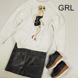 グレイル(GRL)のGRL グレイ ガールプリント スウェット ホワイト 白 フリーサイズ(トレーナー/スウェット)