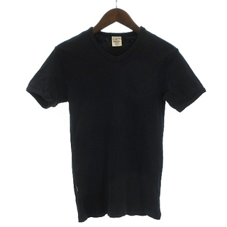 アヴィレックス(AVIREX)のアヴィレックス Tシャツ 半袖 Vネック 無地 コットン 黒 ブラック S(Tシャツ/カットソー(七分/長袖))