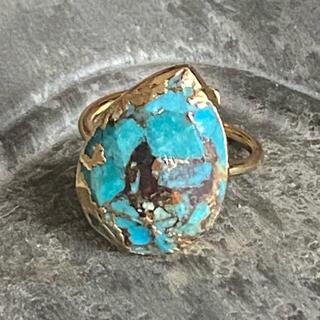 ビームス(BEAMS)のK18GP 天然石 リング 指輪 ティアドロップ ターコイズ E(リング(指輪))