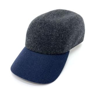 Hermes - エルメス Hロゴ 帽子 バイカラー キャップ グレー×ネイビー