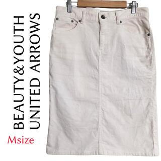 ビューティアンドユースユナイテッドアローズ(BEAUTY&YOUTH UNITED ARROWS)のユナイテッドアローズ スカート M コーデュロイ 白 ♡かわいい♡ 綿95% (ひざ丈スカート)