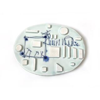 作家物 吉川正道 青白磁 盤 水盤 オブジェ インテリア 花器(彫刻/オブジェ)