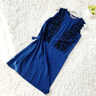 エトロ(ETRO)の美品 ETRO エトロ サファイアブルー スパンコール ワンピース ドレス(ひざ丈ワンピース)