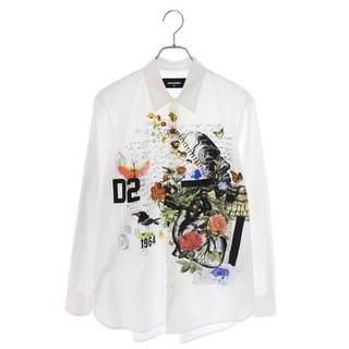 ディースクエアード(DSQUARED2)のディースクエアード メッセージボタニカルプリント長袖シャツ 42(シャツ)