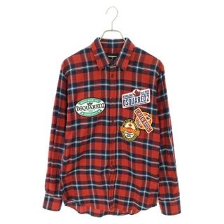 ディースクエアード(DSQUARED2)のディースクエアード チェック柄パッチデザイン長袖シャツ 42(シャツ)