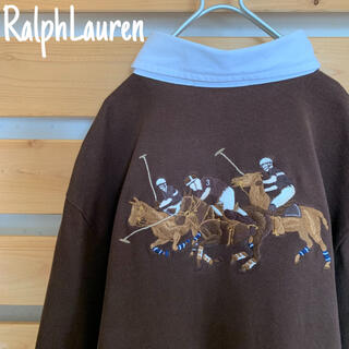 ラルフローレン(Ralph Lauren)のラルフローレン 長袖ポロシャツ ブラウン 白襟 希少 刺繍デザイン 古着 90s(ポロシャツ)