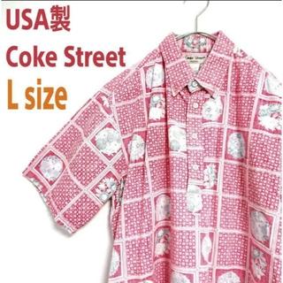 アートヴィンテージ(ART VINTAGE)のUSA製 Coke Street ビッグサイズ 裏生地 花柄 ART シャツ(シャツ)