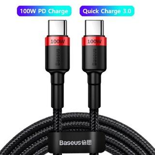 【新品】赤 Baseus 100W USB C To C ケーブル 2m(バッテリー/充電器)