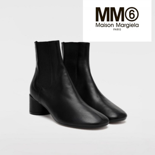 エムエムシックス(MM6)の新品 MM6 マルジェラ ブラック サイドゴアブーツ 35(ブーツ)
