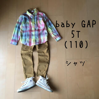 ベビーギャップ(babyGAP)のベビーギャップ 5T 110 シャツ チェック 水色 ピンク(ブラウス)