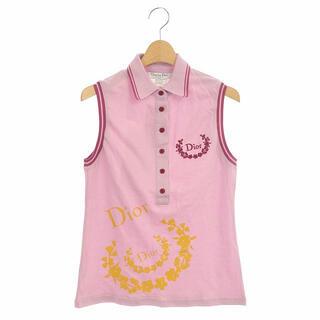 クリスチャンディオール(Christian Dior)のクリスチャンディオール ロゴ刺繍 ノースリーブポロシャツ カットソー 鹿の子(ポロシャツ)