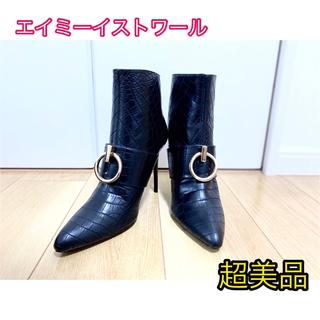 エイミーイストワール(eimy istoire)のブーツ クロコ 黒 エイミーイストワール 美品 ハイヒール L 大人気 希少(ブーツ)