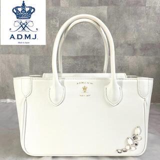 A.D.M.J. - 美品 ADMJ スワロフスキー×クリスタルガラス サフィアーノ 白 トートバッグ