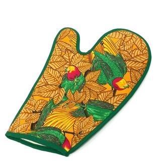 エルメス(Hermes)の未使用 エルメス インコ 鳥柄 鍋つかみ ミトン グリーン×マルチカラー(手袋)