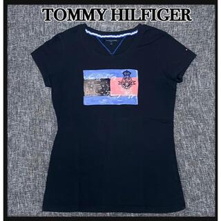 トミーヒルフィガー(TOMMY HILFIGER)のTOMMY HILFIGER  Tシャツ 刺繍ロゴ ブラック(Tシャツ(半袖/袖なし))