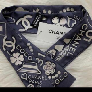 シャネル(CHANEL)の新品未開封❣️正規CHANELシルクツイリー ネイビー(バンダナ/スカーフ)