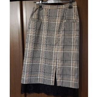 ノエラ(Noela)のノエラ☆裾レースレースグレンチェックタイトスカート(ひざ丈スカート)