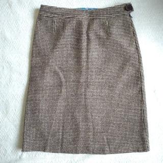 ポールスミス(Paul Smith)のポール・スミスブラック) 千鳥格子 ウールタイトスカート(ひざ丈スカート)