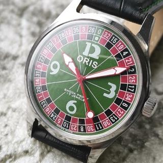 オリス(ORIS)のオリス ORIS シルバー グリーン カジノ 3針 1970s 整備済 機械式(腕時計(アナログ))