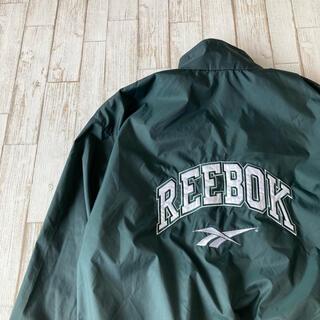 リーボック(Reebok)のReebok ナイロンジャケット 刺繍 でかロゴ 緑 リーボック ライナー 古着(ナイロンジャケット)
