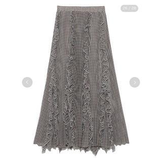 スナイデル(snidel)のスナイデル シアーボリュームプリーツスカート CHECK(ロングスカート)