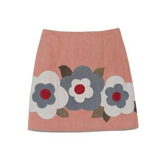 リリーブラウン(Lily Brown)のLily Brown リリーブラウン フラワー台形スカート(ミニスカート)