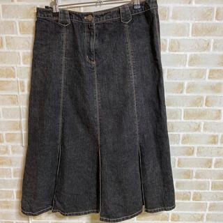 ローラアシュレイ(LAURA ASHLEY)のローラアシュレイ13号 デニムボックスプリーツスカート(ロングスカート)