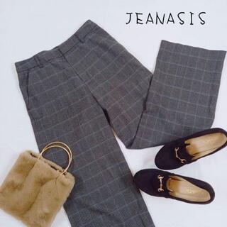 ジーナシス(JEANASIS)のJEANASIS ジーナシス グレンチェックパンツ カジュアル グレー サイズF(カジュアルパンツ)