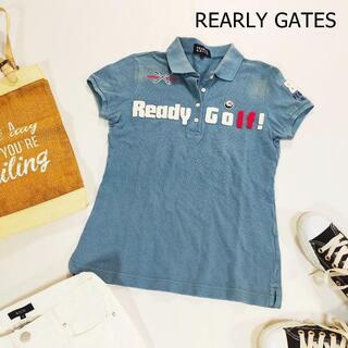 パーリーゲイツ(PEARLY GATES)のパーリーゲイツ ゴルフ ポロシャツ サイズ1 S ブルー 水色日本製 半袖 ロゴ(ポロシャツ)