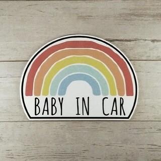 BABY IN CARマグネットステッカー 虹 レインボー チャイルドシート(その他)