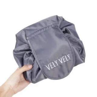 レディース 化粧品ポーチ 大容量 グレー 巾着 (ポーチ)