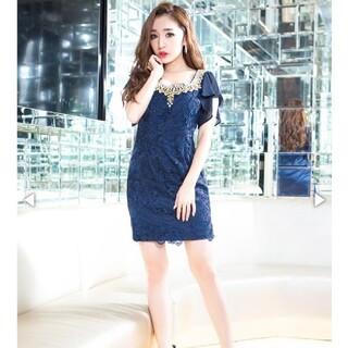 dazzy store - 贅沢パール&ビジュー袖フリルレースタイトミニドレス キャバクラ ドレス
