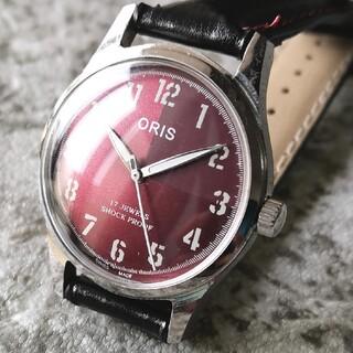 オリス(ORIS)のオリス ORIS レッド シルバー 17石 3針 1970s 整備済 機械式(腕時計(アナログ))