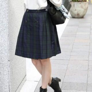 ローリーズファーム(LOWRYS FARM)のmikoa グリーンチェック柄 プリーツ巻きスカート(ひざ丈スカート)