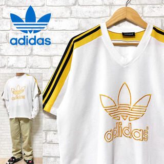adidas - adidas アディダス ビッグロゴ刺繍 3ストライプス ゲームシャツ ジャージ