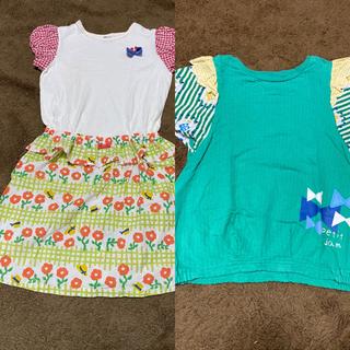 プチジャム(Petit jam)のプチジャム ワンピースとtシャツ 130cm(ワンピース)