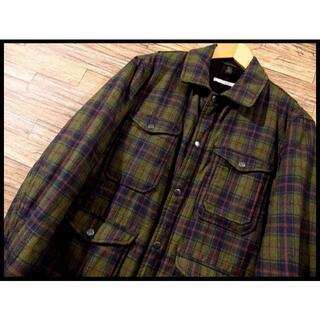 レイジブルー(RAGEBLUE)のG② 美品 レイジブルー 中綿入り チェック ウール シャツ ジャケット 緑 M(ブルゾン)