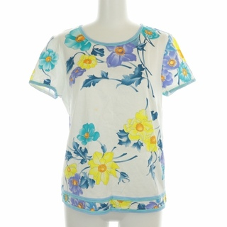 レオナール(LEONARD)のレオナール FASHION 花柄プリントカットソー Tシャツ 半袖 L 白 水色(カットソー(半袖/袖なし))