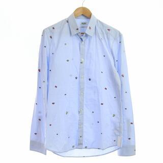 ケンゾー(KENZO)のケンゾー シャツ SLIM FIT 刺繍 長袖 総柄 40 L 青(シャツ)