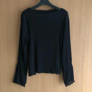 ビームス(BEAMS)のメロー長袖ブラウス 黒 美品(シャツ/ブラウス(長袖/七分))