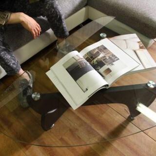 ガラスセンターテーブル ルーク〈3色〉(ローテーブル)