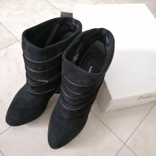 ピンキーアンドダイアン(Pinky&Dianne)の新品 ピンキーアンドダイアン ジッパーライン ショートブーツ ブラック 黒 37(ブーツ)