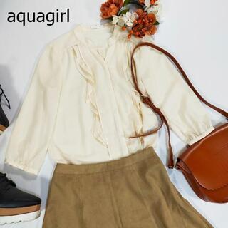 アクアガール(aquagirl)のアクアガール シアーシャツ アイボリー フリル とろみ シースルー ノーカラー(シャツ/ブラウス(長袖/七分))