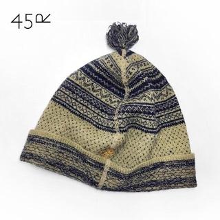 フォーティーファイブアールピーエム(45rpm)の45rpm✨フォーティファイブアール フェアアイル柄 いかり刺繍 ウールニット帽(ニット帽/ビーニー)