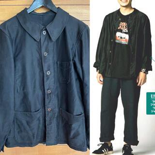 コモリ(COMOLI)の激レア 30s 40s フレンチ モールスキン ワークジャケット ブラック(カバーオール)