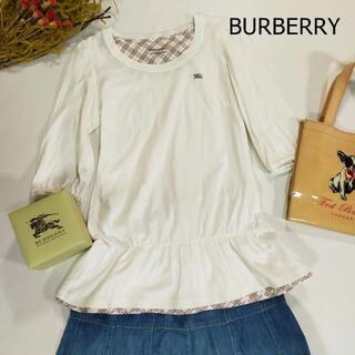 バーバリー(BURBERRY)のバーバリー カットソー サイズ38 M ホワイト パフスリーブ ティアード(Tシャツ(長袖/七分))
