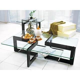 カッシーナ(Cassina)のクリスタル センターテーブル ガラステーブル ローテーブル 黒 北欧 硝子(ローテーブル)