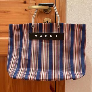 Marni - MARNI マルニ フラワーカフェ ストライプ バッグ ネイビー